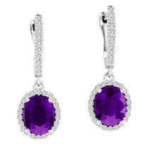 3.50ct Oval Amethyst and Diamond Earrings in 14k White Gold (4.03ctw)