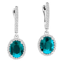 5.00ct Oval Blue Topaz and Diamond Earrings in 14k White Gold (5.53ctw)