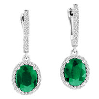 3.50ct Oval Emerald and Diamond Earrings in 14k White Gold (5.53ctw)