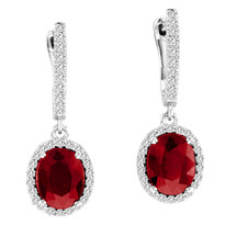 4.20ct Oval Ruby and Diamond Earrings in 14k White Gold (4.73ctw)