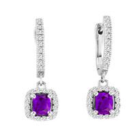 2.00CT T.W Cushion-Cut Amethyst and Diamond Earrings in 14k White Gold (2.44ctw)