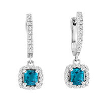 2.00CT T.W Cushion-Cut Blue Topaz and Diamond Earrings in 14k White Gold (2.44ctw)