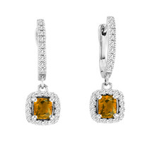 2.00CT T.W Cushion-Cut Citrine and Diamond Earrings in 14k White Gold (2.44ctw)