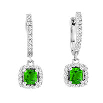 2.00CT T.W Cushion-Cut Peridot and Diamond Earrings in 14k White Gold (2.44ctw)