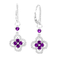 14k White Gold Amethyst Flower Earrings (1.41ct t.w)