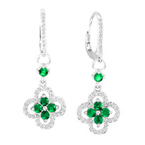 14k White Gold Emerald and Diamond Flower Earrings (1.61ct t.w)