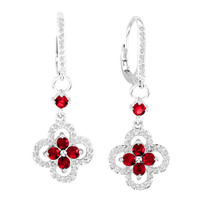 14k White Gold Ruby and Diamond Flower Earrings (1.71ct t.w)