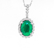 14k White Gold Oval Emerald and Diamond Pendant (1.02ctw)