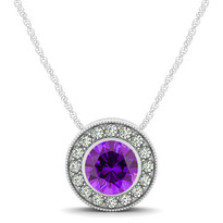 14k White Gold Round Amethyst and Diamond Circle Pendant (.54ctw)