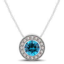 14k White Gold Round Blue Topaz and Diamond Circle Pendant (.70ctw)