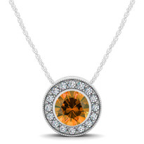 14k White Gold Round Citrine and Diamond Circle Pendant (.54ctw)