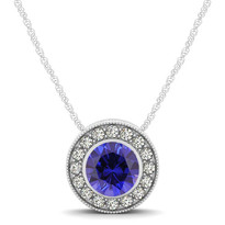 14k White Gold Round Sapphire and Diamond Circle Pendant (.79ctw)