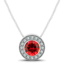 14k White Gold Round Ruby and Diamond Circle Pendant (.79ctw)