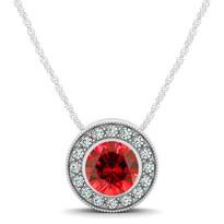 14k White Gold Round Ruby and Diamond Circle Pendant (.79ctw)