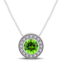 14k White Gold Round Peridot and Diamond Circle Pendant (.64ctw)