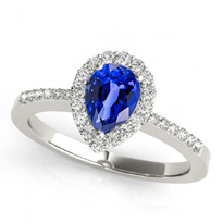 14k White Gold 7x5 Pear Shape Sapphire and Diamond  Engagement Ring (.95ctw)