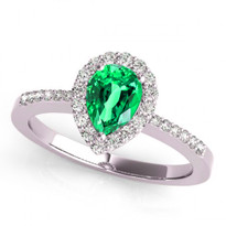 14k White Gold 7x5 Pear Shape Emerald and Diamond Engagement Ring (.90ctw)