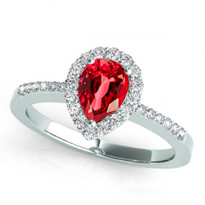 14k White Gold 7x5 Pear Shape Ruby and Diamond Engagement Ring (.95ctw)