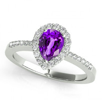 14k White Gold 7x5 Pear Shape Amethyst and Diamond Engagement Ring (.85ctw)