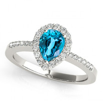 14k White Gold 7x5 Pear Shape Blue Topaz and Diamond Engagement Ring (1.20ctw)