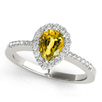14k White Gold 7x5 Pear Shape Citrine and Diamond Engagement Ring (.85ctw)