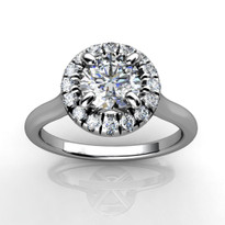 1/2ct Round Diamond Halo Engagement Ring in 14k White Gold (3/4ctw)