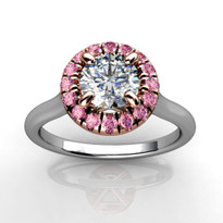 Halo Engagement Ring with White and Pink Diamonds in 14k Two-Tone Gold (3/4ctw)
