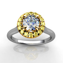Halo Engagement Ring with White and Yellow Diamonds in 14k Two-Tone Gold (3/4ctw)