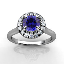 14k White Gold 5.5MM Round Sapphire and Diamond Engagement Halo Ring (1.04CTW)