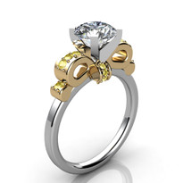14k Two-Tone Yellow Diamond Ribbon Semi-Mount ring (.17ctw)