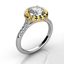 14k Two-Tone  Yellow Diamond Halo Semi-Mount (.32ct)