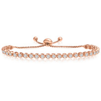 """One-Size-Fits-All"" Round Diamond Adjustable Tennis Bracelet in 14k Rose Gold (1.50ctw - 4.00ctw)"
