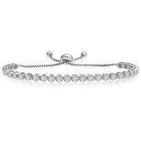 """One-Size-Fits-All"" Round Diamond Adjustable Tennis Bracelet in 14k White Gold (1.50ctw - 4.00ctw)"