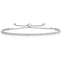"""One-Size-Fits-All"" Round Diamond Adjustable Tennis Bracelet in 14k White Gold (.88ctw)"