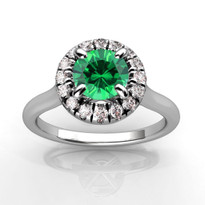 14k White Gold 5.5MM Round Emerald and Diamond Engagement Halo Ring (1.30CTW)