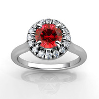 14k White Gold 5.5MM Round Ruby and Diamond Engagement Halo Ring (1.24CTW)