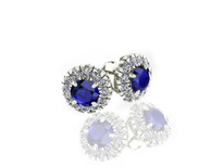 14k White Gold Round Sapphire and Diamond Halo Earrings (2.80ctw)