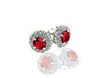 14k White Gold Round Ruby and Diamond Halo Earrings (2.80ctw)