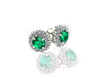 14k White Gold Round Emerald and Diamond Halo Earrings (2.80ctw)