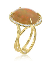 10 carat Opal and Diamond Halo Ring in 14k Yellow Gold (10.38ctw)