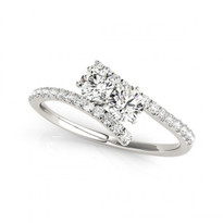 2 Stone Overlap Engagement Ring in 14k White Gold             (1/2ctw - 1 1/4ctw)
