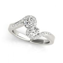 2-Stone Half-Halo Round Diamond Engagement Ring       (1/2 - 1 1/4ctw)