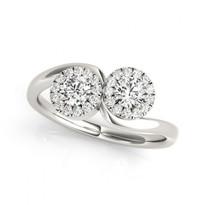 2-Stone Round Halo Diamond Engagement Ring       (1/2ct - 1 1/3ctw)