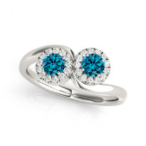 2-Stone Round Halo Blue Diamond Engagement Ring     (1/2ct - 1 1/3ctw)
