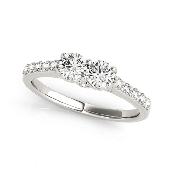 2-Stone side by side Diamond Engagement Ring in 14k White Gold (1/2ctw - 1  1/3ctw)