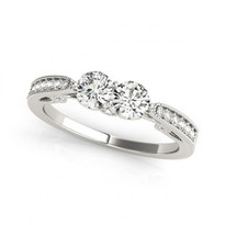 2-Stone Antique Design Round Diamond Engagement Ring in 14k White Gold (1/2ctw - 1 1/5ctw)