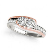 2-stone swirl Round Diamond Engagement Two-Tone Ring (1/2ctw - 1 1/3ctw)