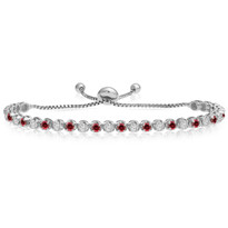 """One-Size-Fits-All"" Round Ruby and Diamond Adjustable Bracelet in 14K White Gold (2.00ctw - 5.00ctw)"