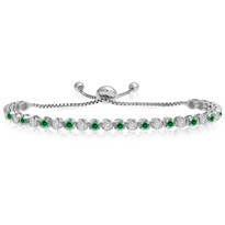"""One-Size-Fits-All"" Round Emerald and Diamond Adjustable Bracelet in 14K White Gold (2.00ctw - 5.00ctw)"