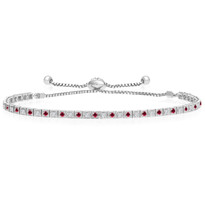 """One-Size-Fits-All"" Round Ruby and Diamond Adjustable 'Box' Tennis Bracelet in 14k White Gold (.88ctw)"